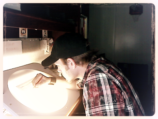 Zane working on story boards.