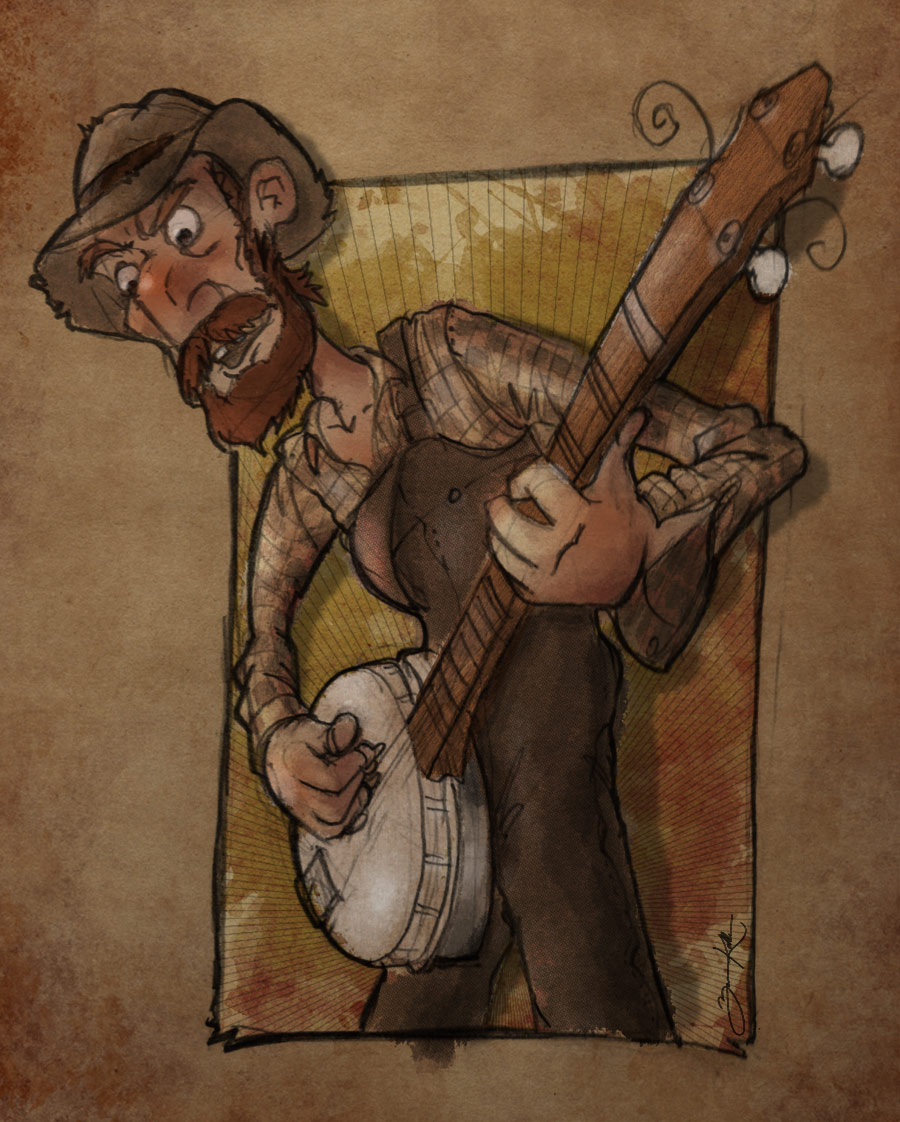 Hillbilly playing banjo.