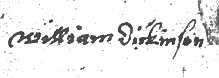 William's signature in the probate bond of Isabel Pearson in 1646. A confident, educated hand with no up or down tilt.