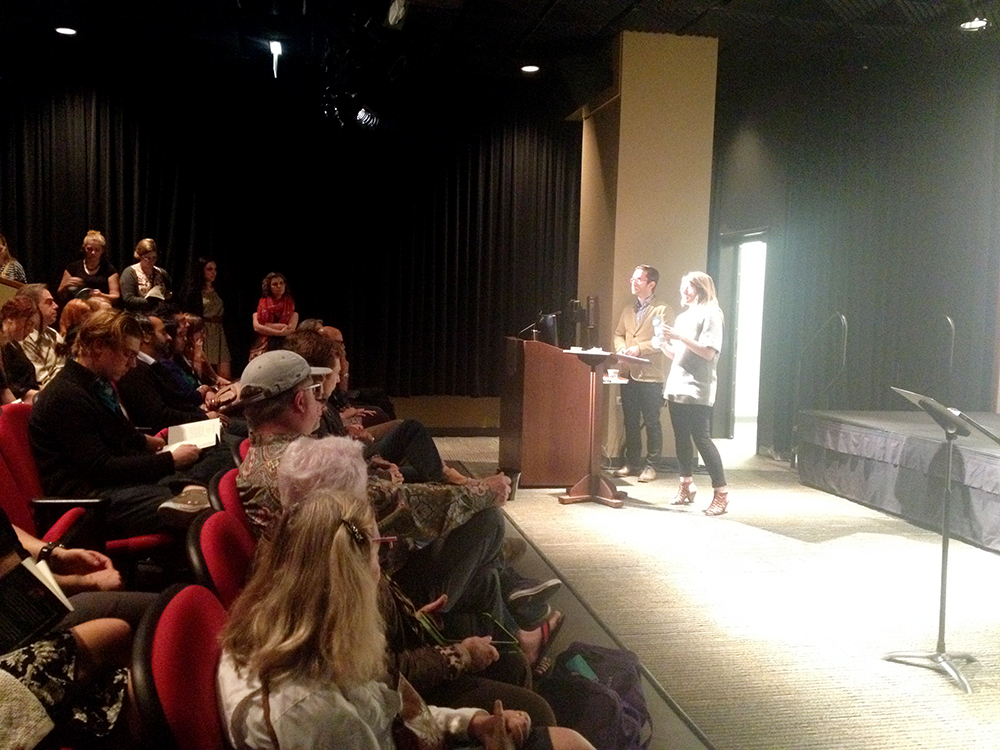 The radiant Kendra Curry-Khanna (Deputy Director of 826CHI) introduces the event to a packed auditorium