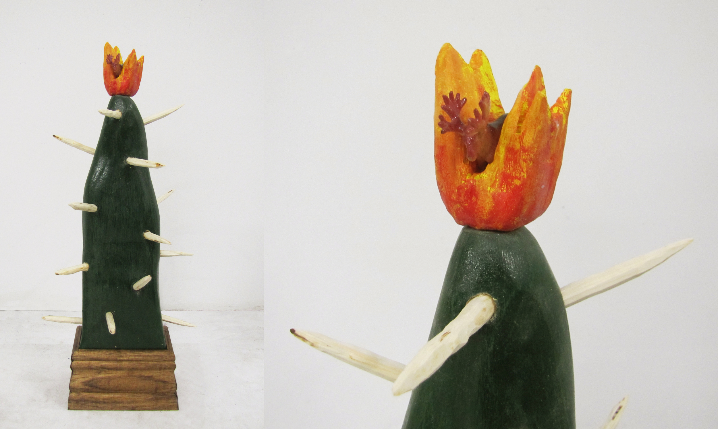 Cactus-Mountain, Moose-fire.   Wood, acrylic paint and plastic moose  18 x 7 x 7 inches