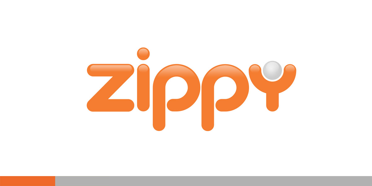 "Zippy was a simple invention using a golf ball encased with a handle for sports related massage and rehab. The small sphere in the ""y"" is essentially a graphic representation of the device."