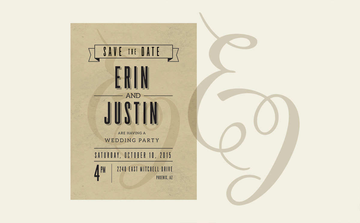 Erin & Justin decided on contemporary, but stylized... and I loved the little logo they put on everything.