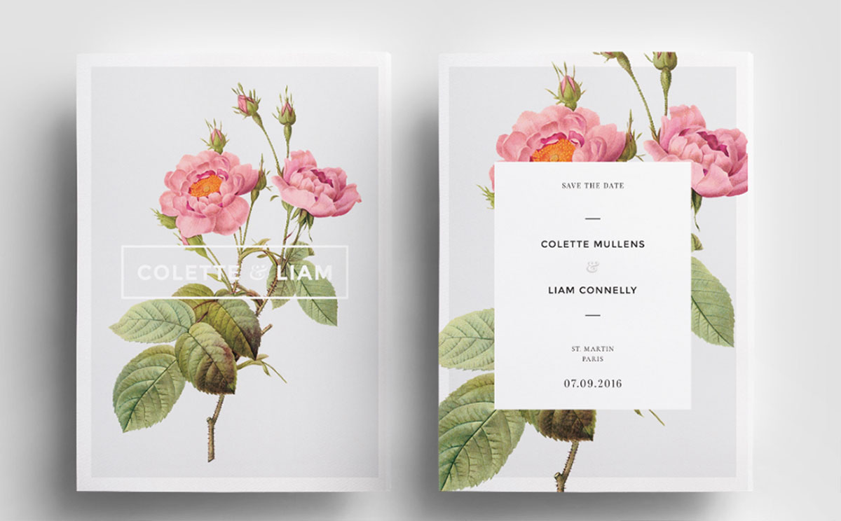 Using amazing botanical illustrations, Liam & Colette's invite is amazing.