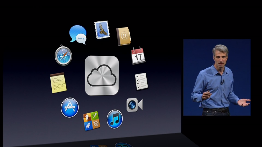 Apple Senior VP Craig Federighi presents with beautifully simple slides
