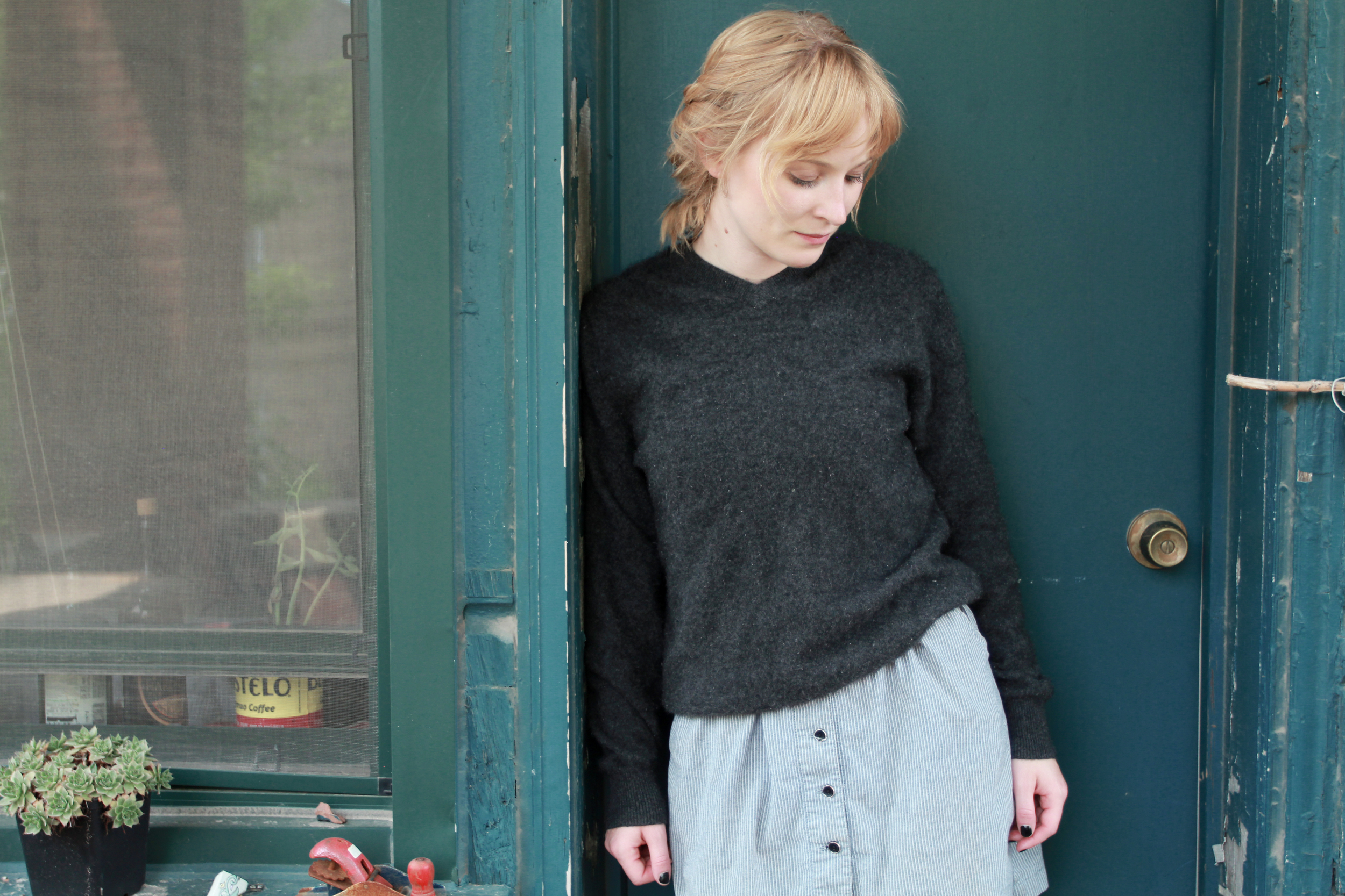 Shrunken cashmere sweater that I claimed salvage on from Jesse'swardrobe.