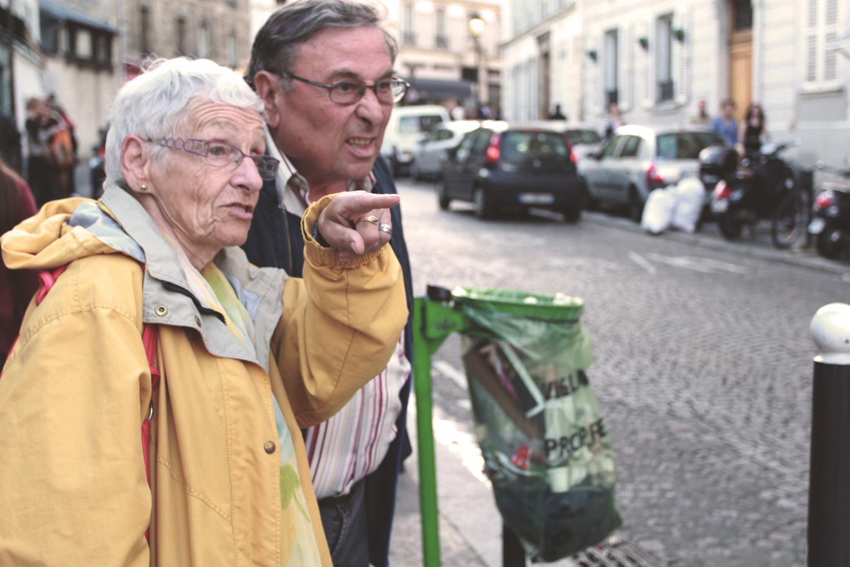 Elderly people. Sneering.