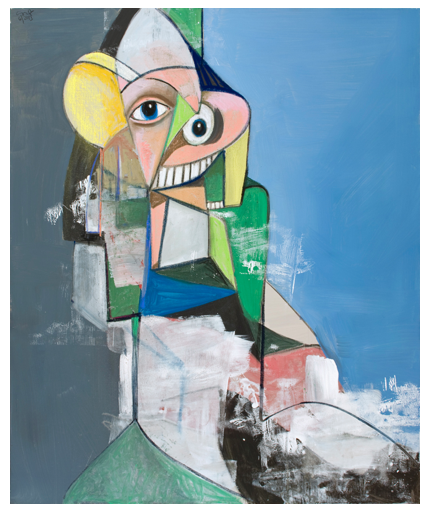 George Condo  Heading Out, 2013 Acrylic, charcoal, and pastel on linen Unframed: 134.6 x 106.7 cm (53 x 42 in) Framed: 141 x 118.1 x 8.9 cm (55 1/2 x 46 1/2 x 3 1/2 in)