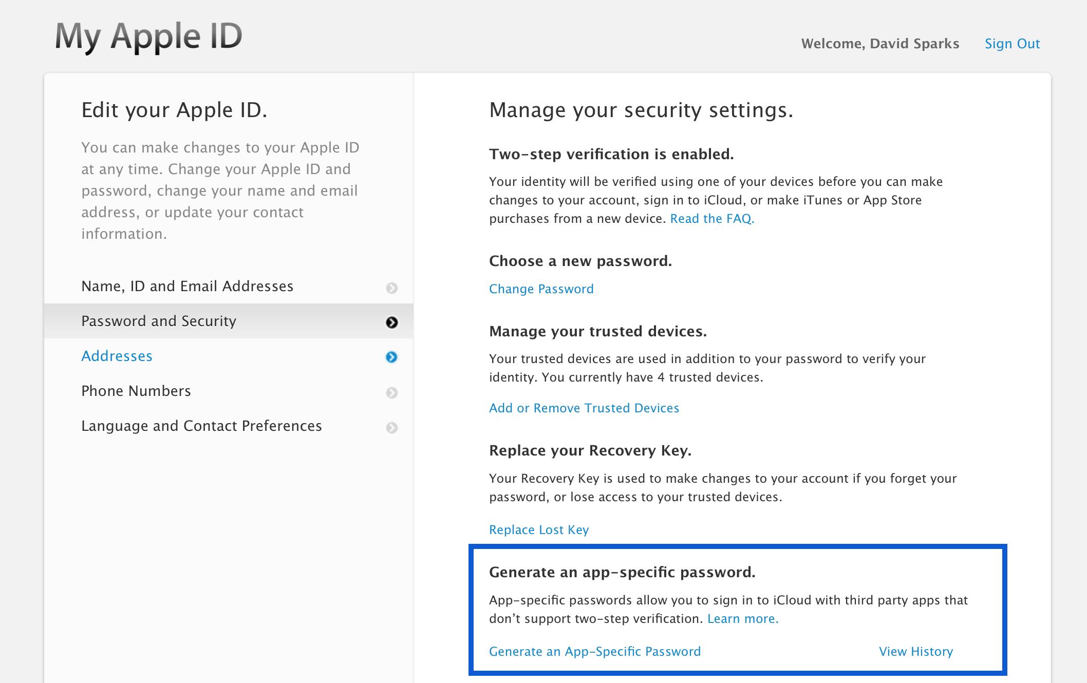 App Specific Passwords — MacSparky