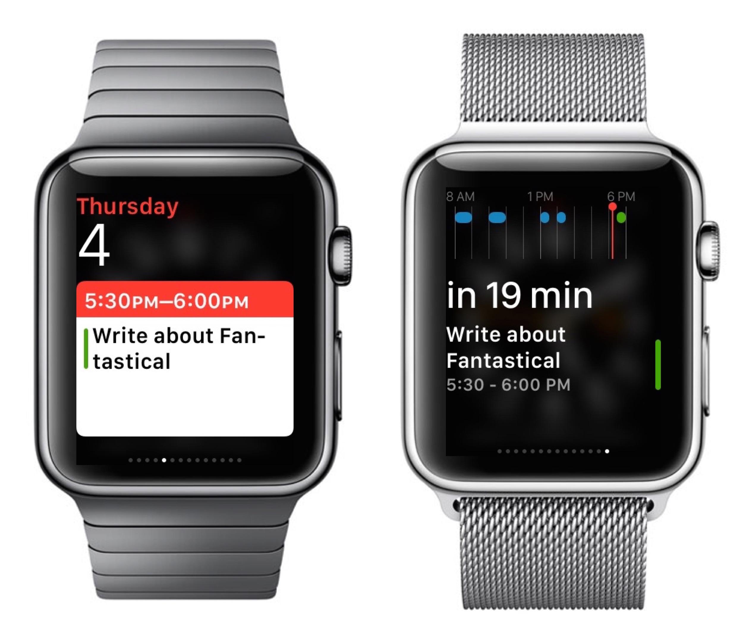 Apple Calendar on left. Fantastical on right.