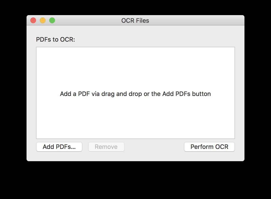 The PDFpen 10 batch OCR dialog box.