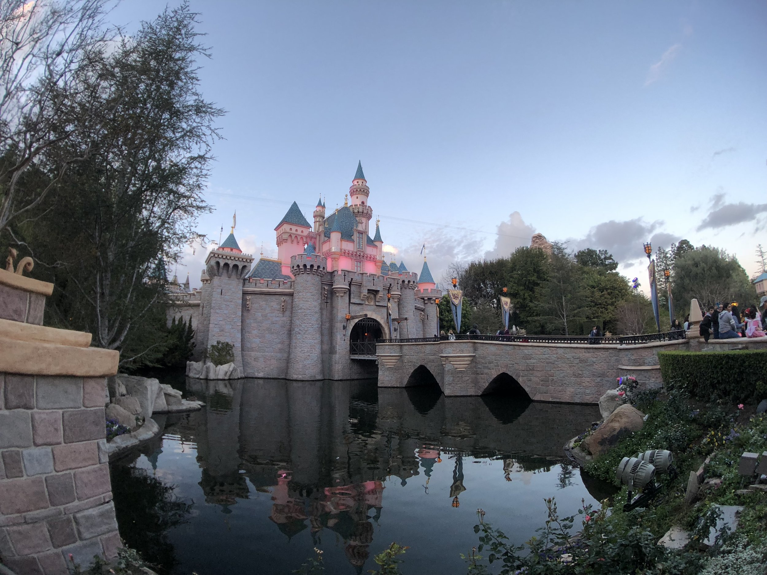 The Disneyland Castle from the same spot with the Moment Superfish lens attached. (Click to enlarge.)