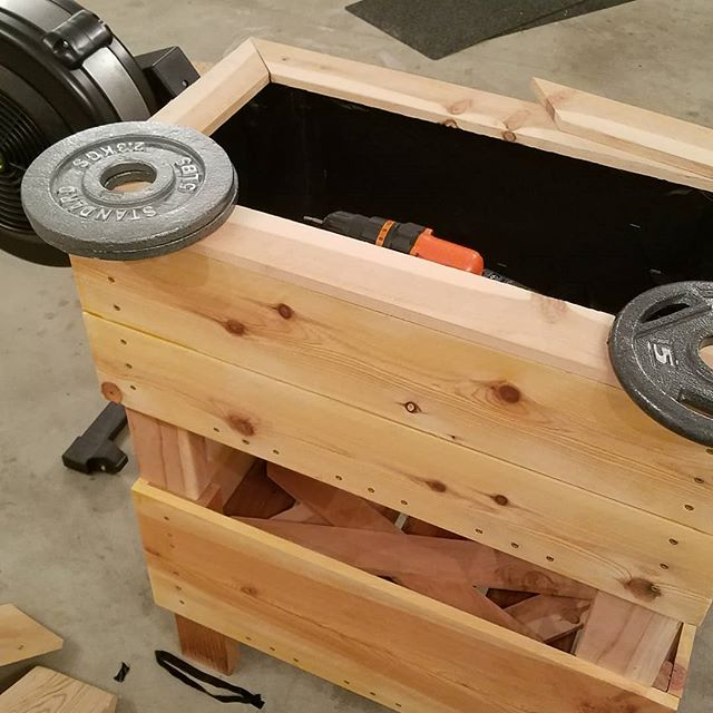 Functional Fitness When you don't have clamps big enough, but you have about 3 dozen 5lb plates