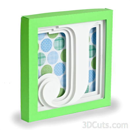 Alphabet Shadow Boxes by 3DCuts.com, Marji Roy, 3D cutting files in .svg, .dxf, and pdf. formats for use with Silhouette and Cricut cutting machines, paper crafting files