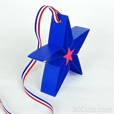 3d Paper Stars by 3dCuts.com, Marji Roy, 3D cutting files in .svg, .dxf, and .pdf formats for use with Silhouette and Cricut cutting machines, paper crafting files