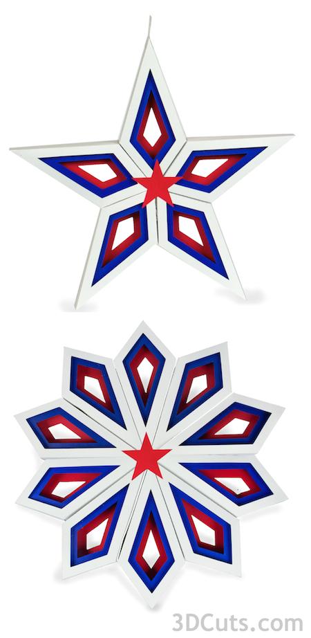 Geometric Stars in Paper by 3dcuts.com