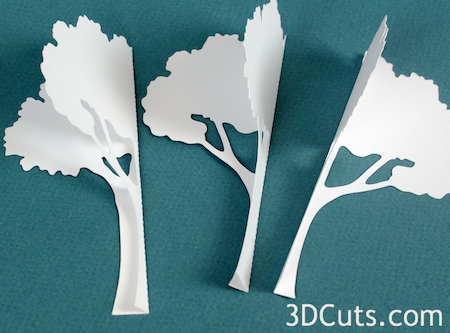 3DCuts.com, Marji Roy, 3D cutting files in .svg, .dxf, and pdf. formats for use with Silhouette and Cricut cutting machines, paper crafting files, Ledge Village Trees