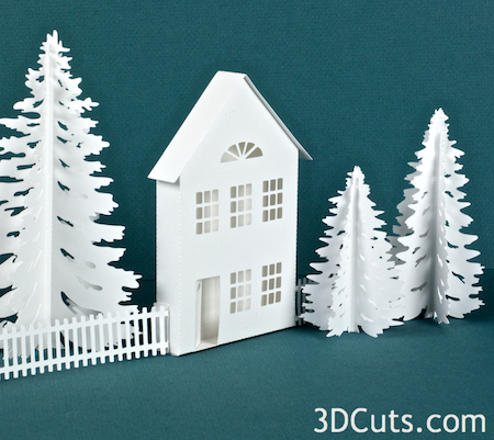 3DCuts.com, Marji Roy, 3D cutting files in .svg, .dxf, and pdf. formats for use with Silhouette and Cricut cutting machines, paper crafting files, Ledge Village Cottage