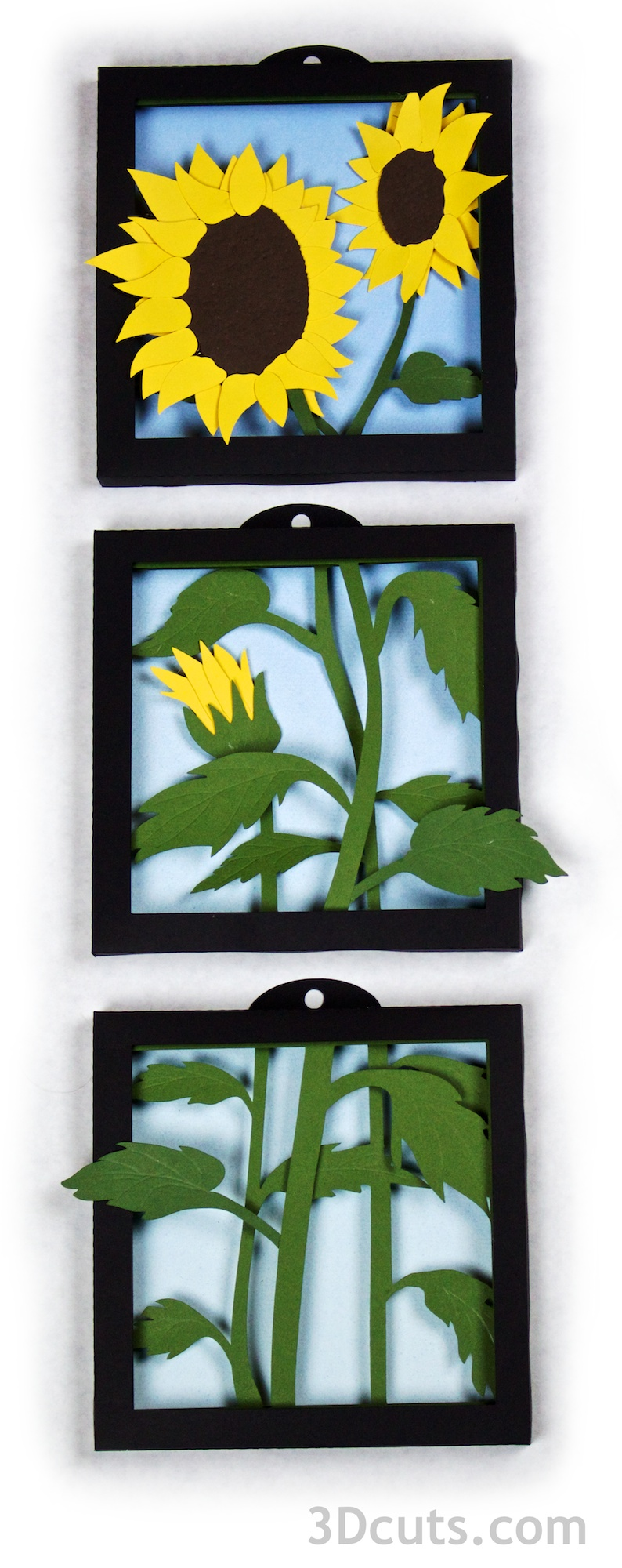 3DCuts.com, Marji Roy, 3D cutting files in .svg, .dxf, and pdf. formats for use with Silhouette and Cricut cutting machines, paper crafting files, Sunflower Shadow boxes