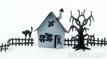 3DCuts.com, Marji Roy, 3D cutting files in .svg, .dxf, and pdf. formats for use with Silhouette and Cricut cutting machines, paper crafting files, Ledge Village Haunted House Series