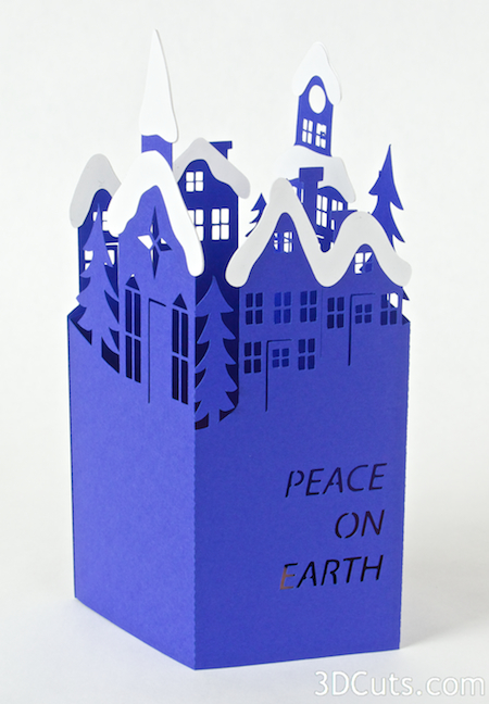 Handmade Christmas Card Design. Silhouette Snowy Town Card by 3dCuts.com, Marji Roy, 3D cutting files in .svg, .dxf, and .pdf formats for use with Silhouette and Cricut cutting machines, paper crafting files,