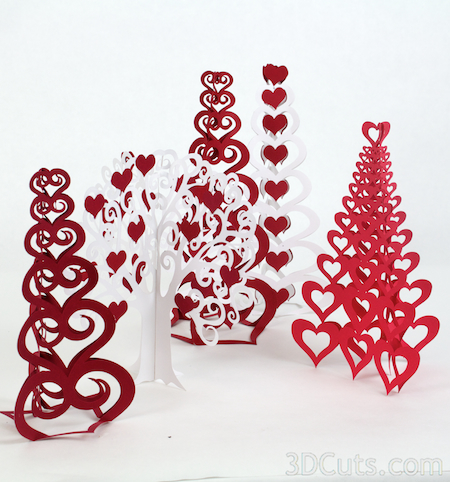 3d Paper Trees by 3dCuts.com, Marji Roy, 3D cutting files in .svg, .dxf, and .pdf formats for use with Silhouette and Cricut cutting machines, paper crafting files for Valentines Decor