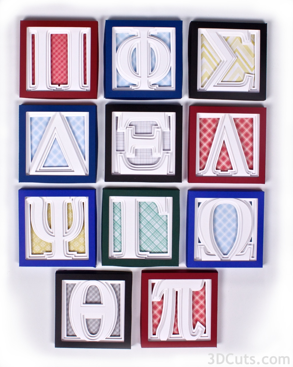 Greek Letter Shadow Boxes by 3dcuts