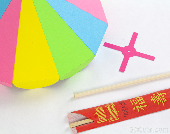 3d Paper Beach Umbrella by 3dCuts.com, Marji Roy designs 3D cutting files in .svg, .dxf, and .pdf formats for use with Silhouette and Cricut cutting machines, paper crafting files, picnic fun
