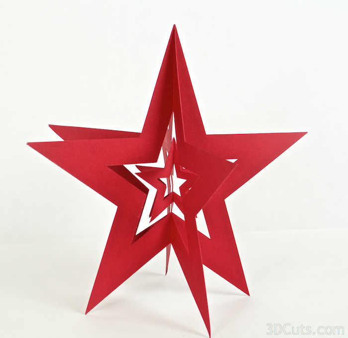 3d Nesting Stars by 3dCuts.com, Marji Roy designs 3D cutting files in .svg, .dxf, and .pdf formats for use with Silhouette and Cricut cutting machines, paper crafting files