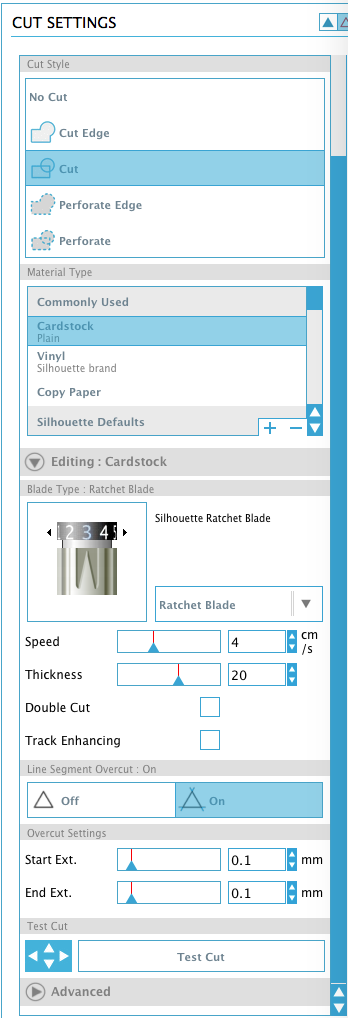 You find the Line Over Cut Settings by clicking in the cut icon in the upper right, selecting card stock as a material and then the advanced settings. Turn on the Over Cut Setting and increase both to .1.