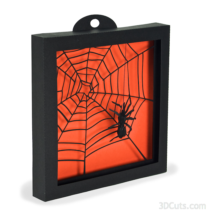 3d Spider Web   Shadow Box for Halloween tutorial by 3dCuts.com, Marji Roy, 3D cutting files in .svg, .dxf, and .pdf formats for use with Silhouette and Cricut cutting machines, paper crafting files