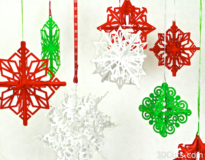 3d SnowStars Christmas Ornaments by 3dCuts.com, Marji Roy designs 3D cutting files in .svg, .dxf, and .pdf formats for use with Silhouette and Cricut cutting machines, paper crafting files