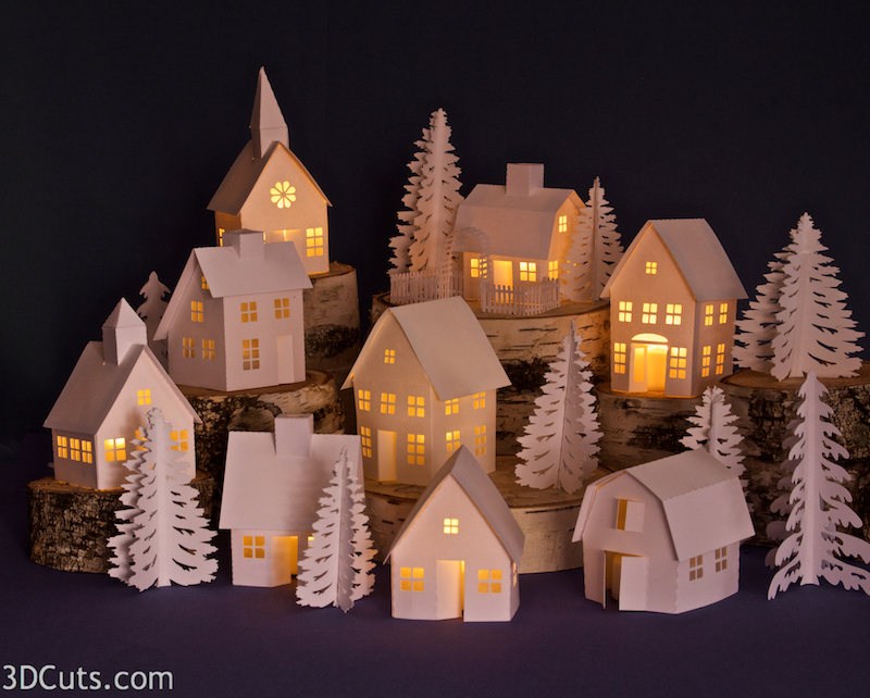 Tea Light Village, 3DCuts.com, Marji Roy, 3D cutting files in .svg, .dxf, and .pdf formats for use with Silhouette and Cricut cutting machines, paper crafting files
