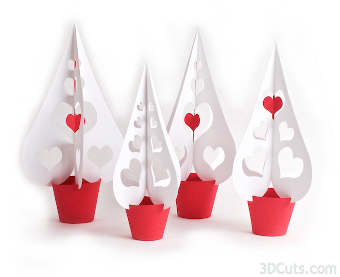 3D Heart Trees from Card stock designed by Marji Roy of 3dCuts.com in 2016. For use with Cricut and Silhouette cutting machines. Available in 3 designs and 3 sizes. DIY decor for weddings or Valentine's Day.