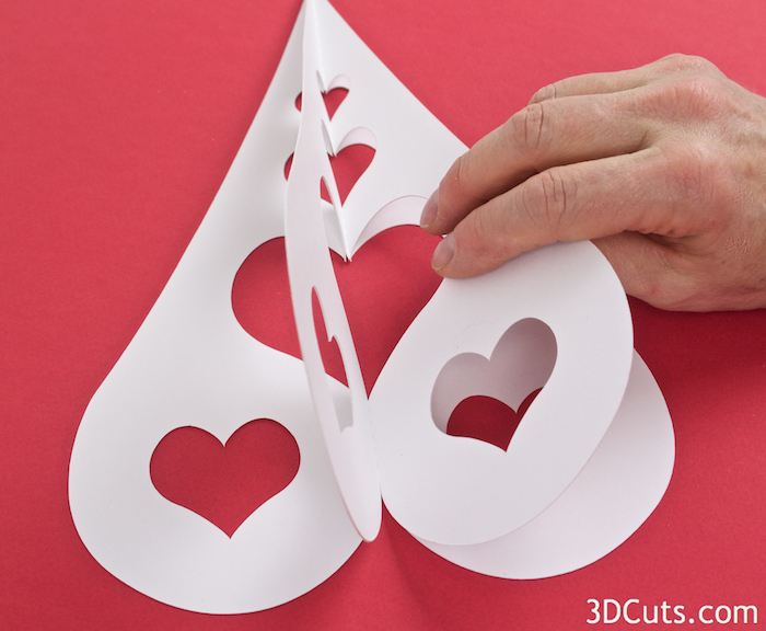 3D Heart Trees from Card stock designed by Marji Roy of 3dCuts.com in 2016. For use with Cricut and Silhouette cutting machines. Available in 3 design  s and 3 sizes. DIY decor for weddings or Valentine's Day.