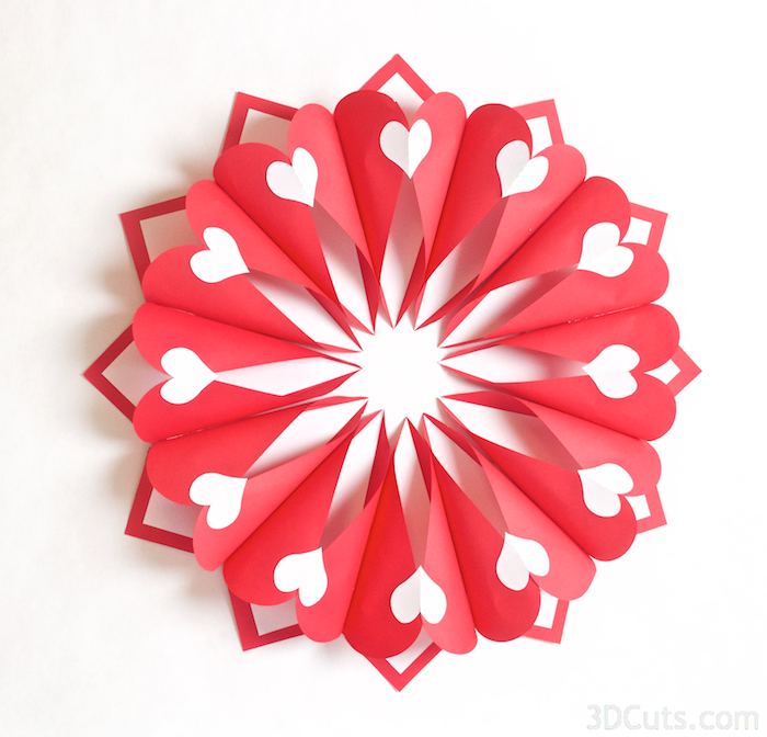 svg cutting files for Silhouette and Cricut Cutting machines. Birthday card Valentine's Day Wreath by Marji Roy of 3dcuts