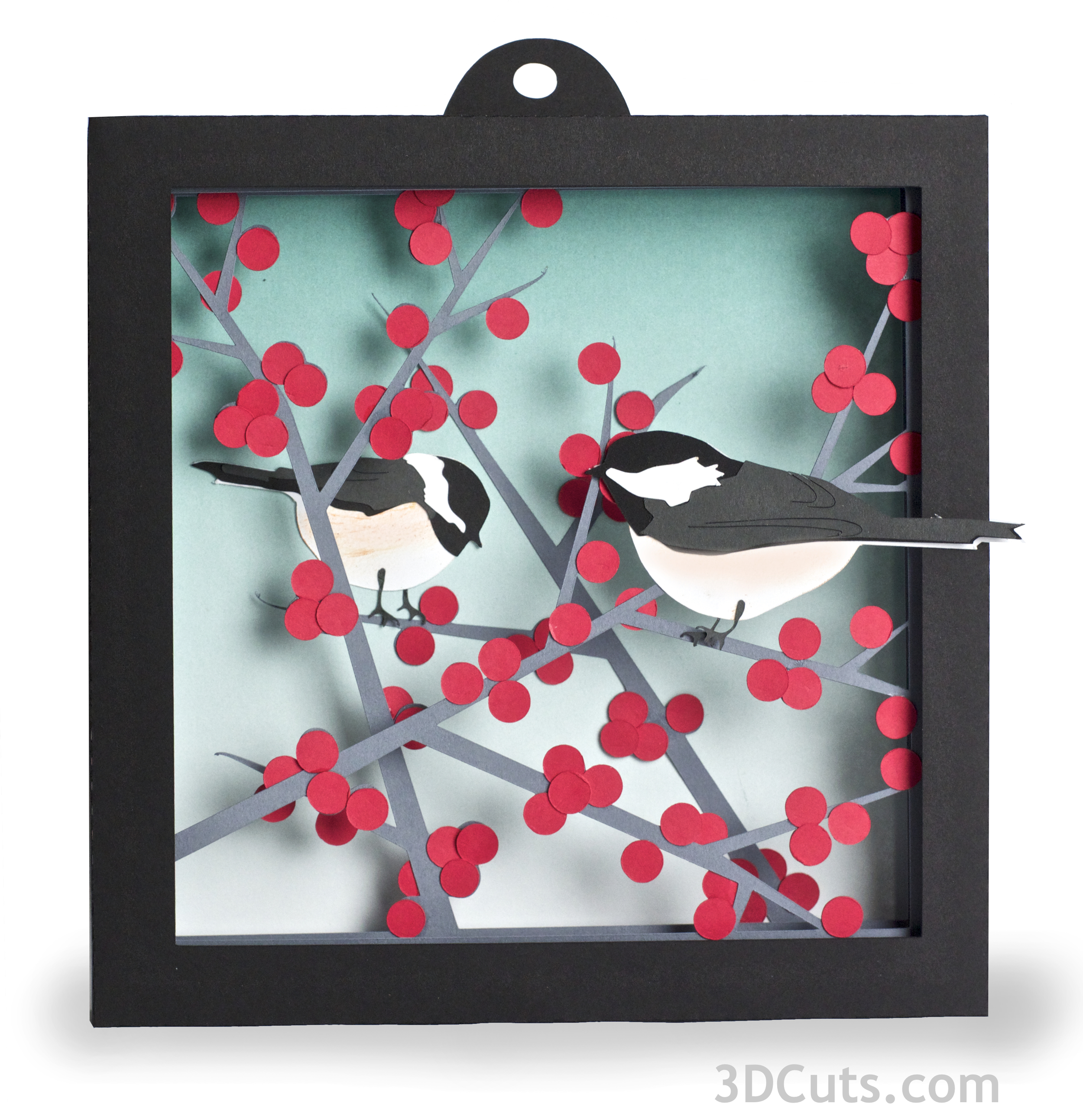 Winterberry and Chickadee Shadow box in paper by Marji Roy of 3dcuts.corm. Cutting files in svg, pdf, and dxf formats for Silhouette and Cricut cutting machines
