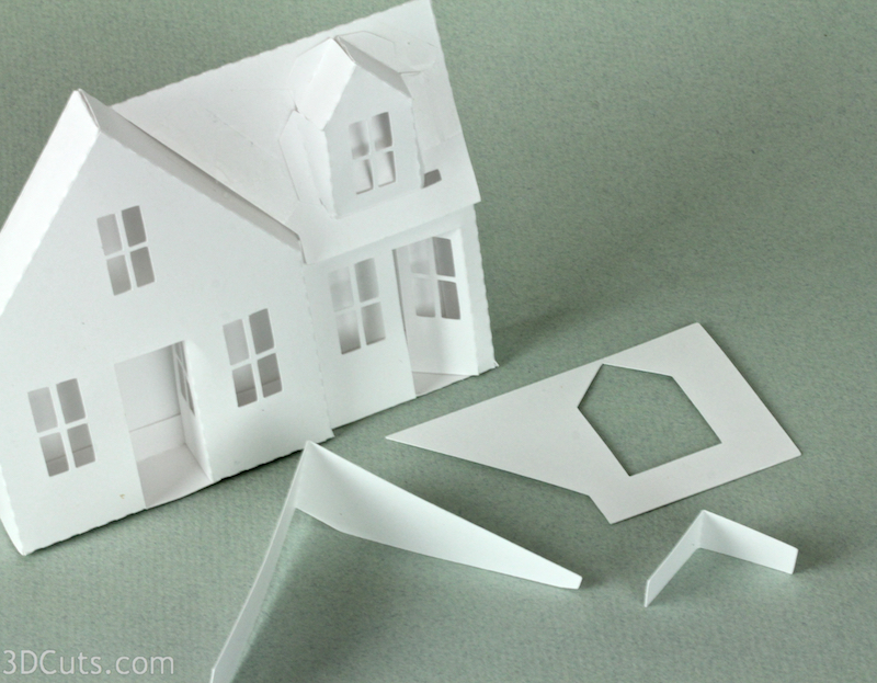 Ledge Village by 3DCuts.com, Marji Roy, 3D cutting files in .svg, .dxf, and pdf. formats for use with Silhouette and Cricut cutting machines, paper crafting files, Ledge Village Dormer House