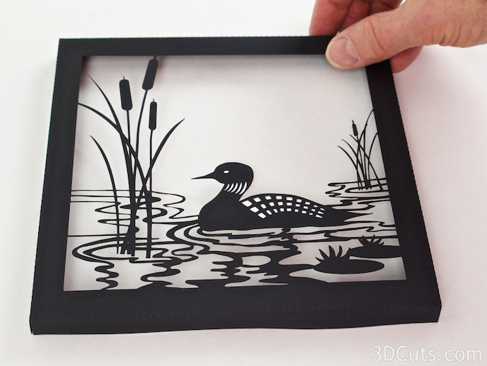 Loon Lake Shadow box Tutorial by Marji Roy of 3dcuts.co  m. Cutting files in svg, pdf, and dxf formats for paper cutting using Silhouette and Cricut cutting machines