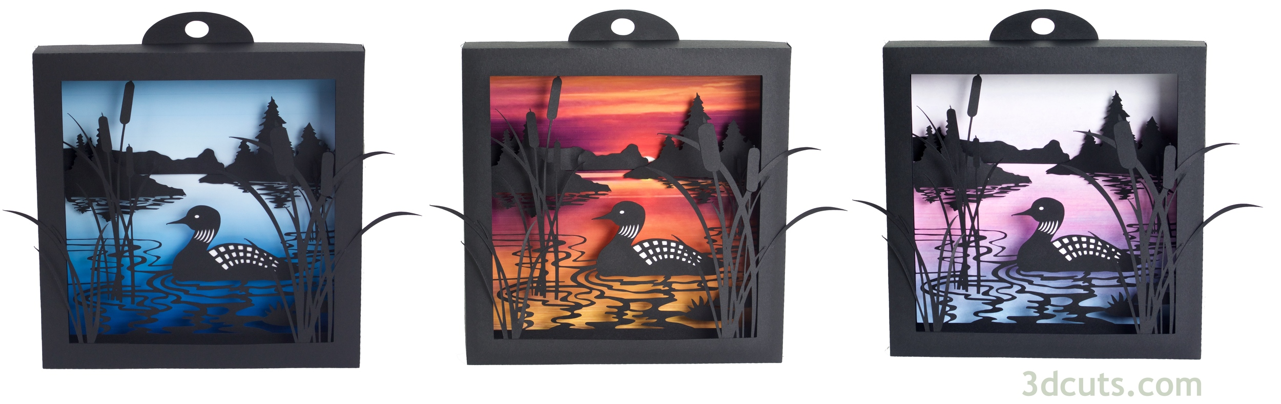 Here is the Loon Lake Shadow Box made with each of the three backgrounds provided with the file download.