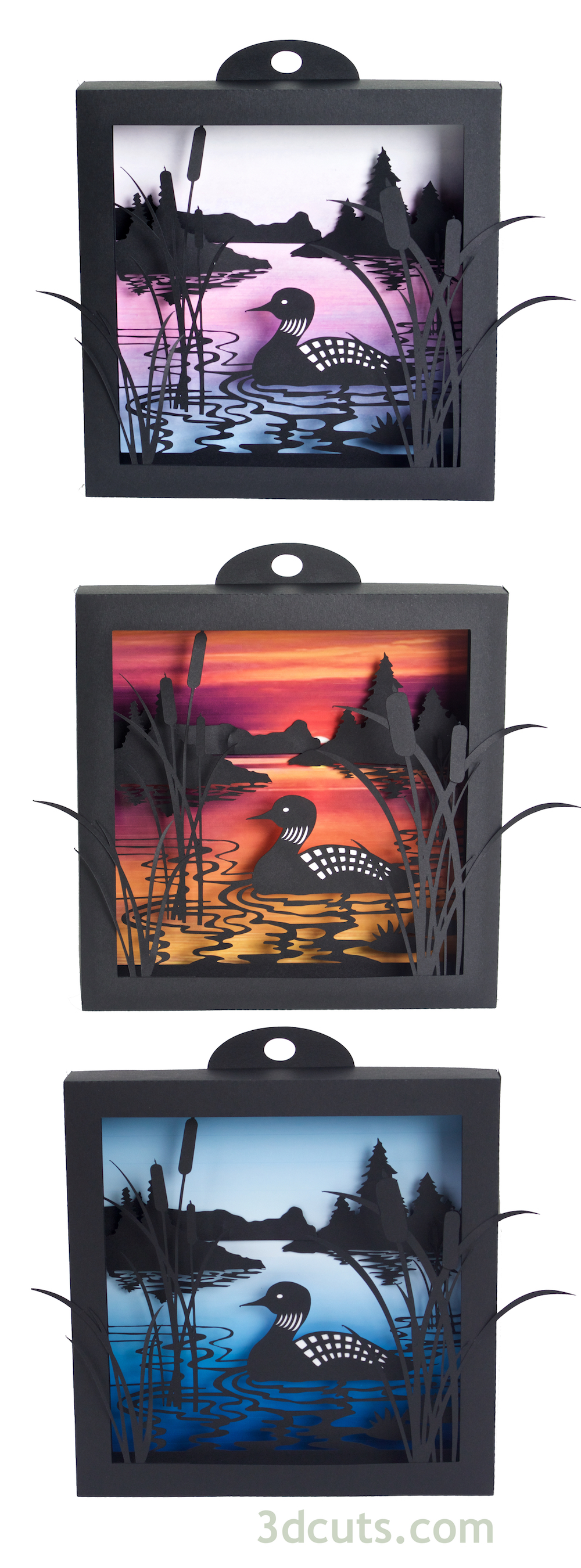 Loon Lake Shadow box with 3 backgrounds crafted in paper. SVG files available at 3dcuts.com. For use with Cricut and Silhouette cutting machines.