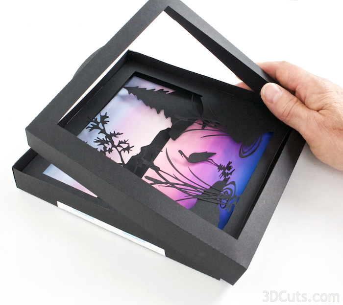 Heron Cove  Shadow box Tutorial by Marji Roy of 3dcuts.com. Cutting files in svg, pdf, and dxf formats for paper cutting using Silhouette and Cricut cutting machines