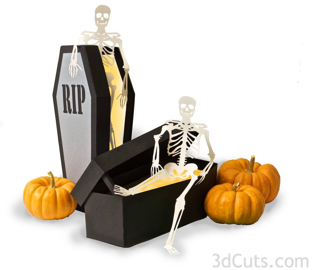Haunted Caskets with decorating skeletons for Halloween decor by Marji Roy of 3dcuts.com