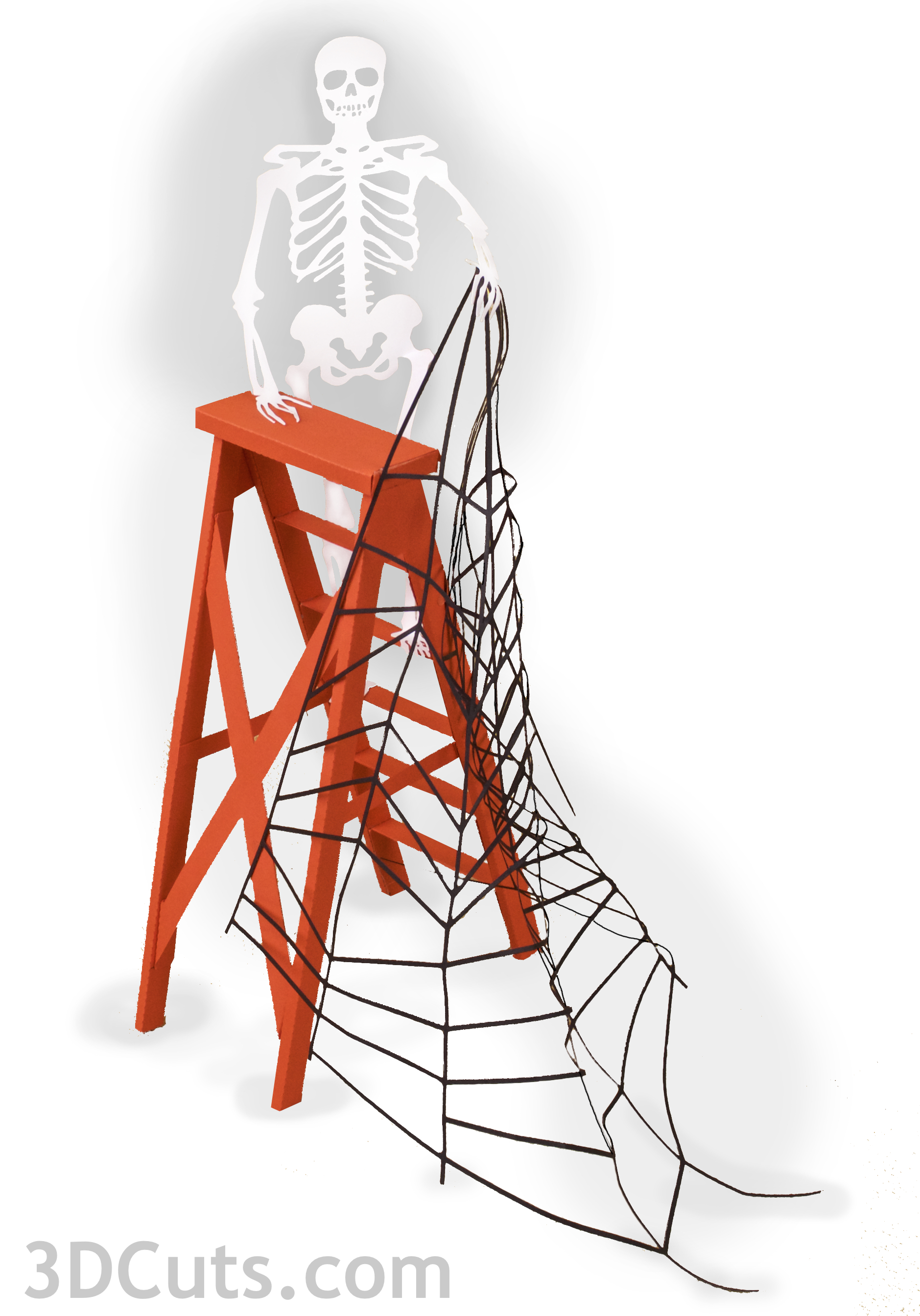 Combine the ladder file with a new web file available at http://3dcuts.com/halloween for more interesting arrangements.