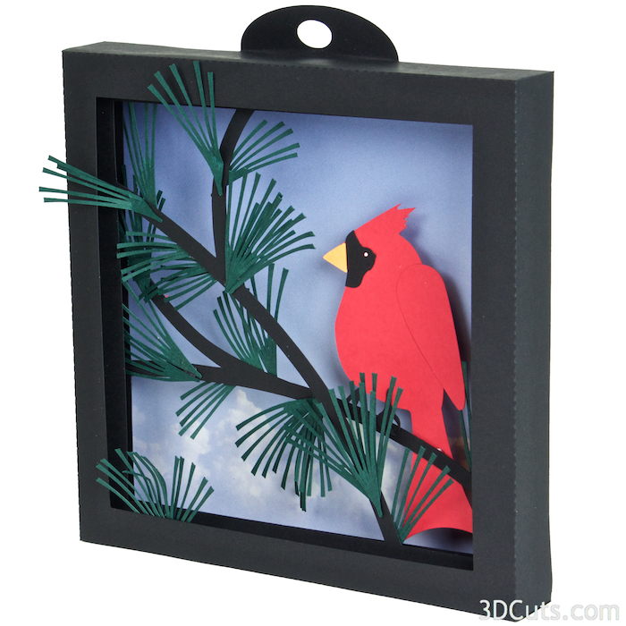 Cardinal in Pines Shadow box by Marji Roy of 3dcuts.com. This is a cutting file for use on Cricut and Silhouette cutting machine. It is made from card stock. Files available in svg, pdf, png and pdf formats.