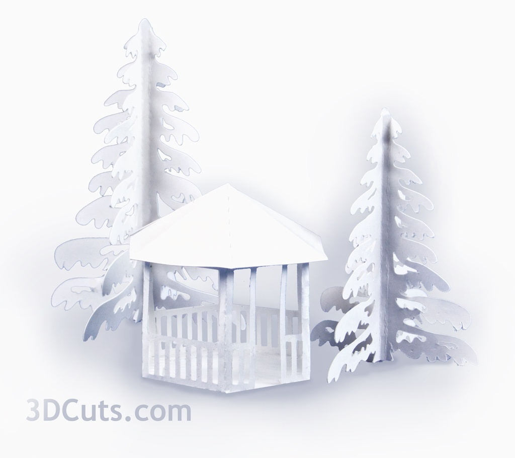 Tea Light Village, 3DCuts.com, Marji Roy, 3D cutting files in .svg, .dxf, and .pdf formats for use with Silhouett, Cricut and other cutting machines, paper crafting files