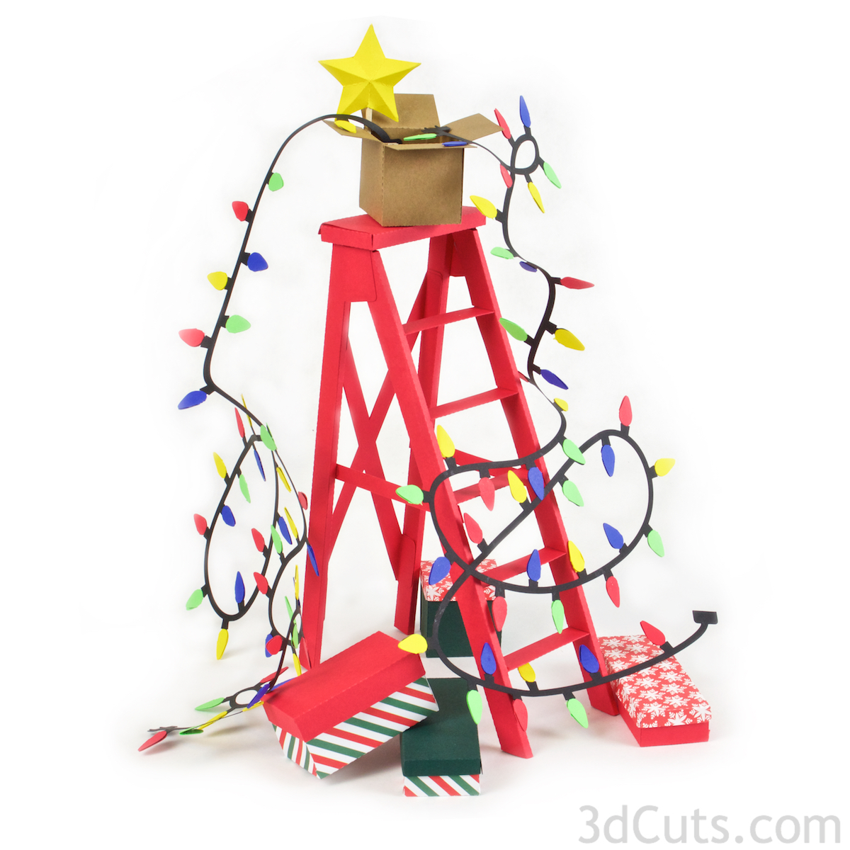 3d Christmas Ladder centerpiece constructed from card stock. SVG,PDF,   PNG, DXF cutting files available from 3dcuts.com. Designed by Marji Roy