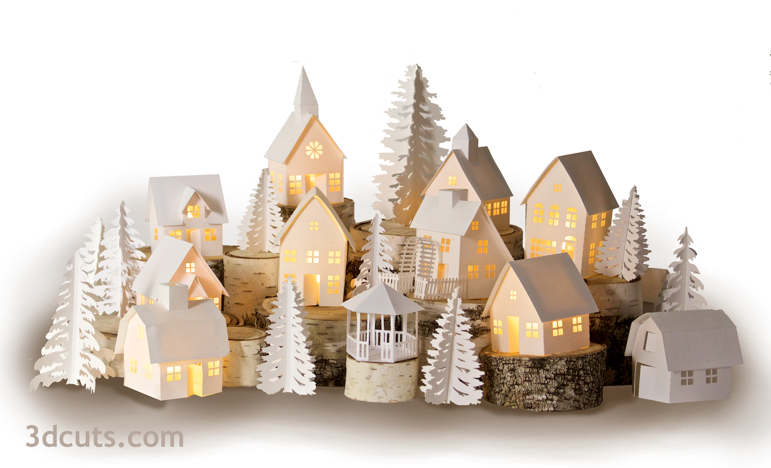 Tea Light Village by Marji Roy of 3dcuts.com