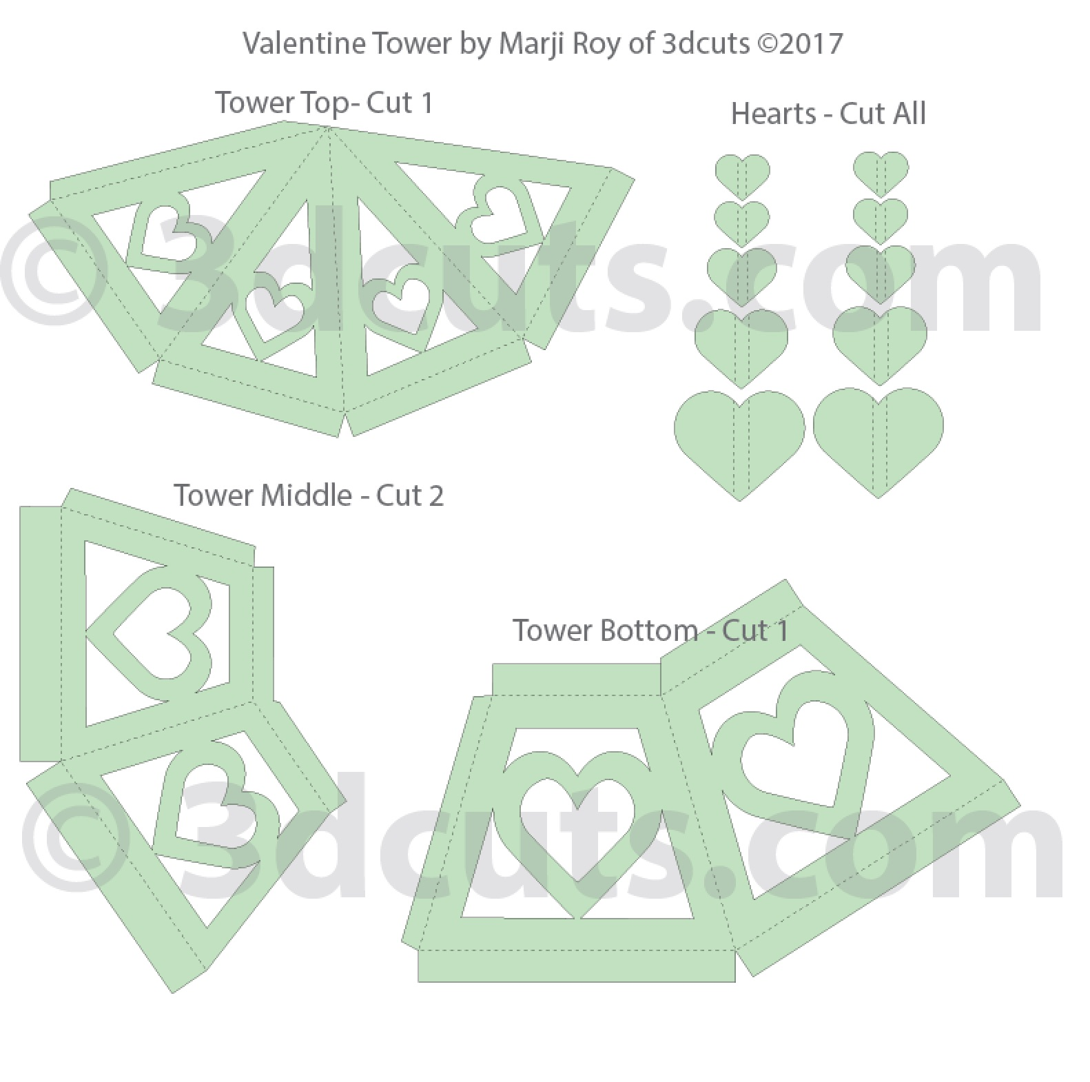 3d Valentine Tower cutting files in SVG, pdf, png, and dxf formats. Designed by Marji Roy of 3dcuts.com for Silhouette, Cricut and other cutting machines. ©2017 Marji Roy. All rights reserved