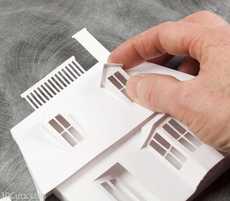Mansard House cutting files is part of Ledge Village. These are cutting files in SVG, pdf, png, and dxf formats. Designed by Marji Roy of 3dcuts.com for Silhouette, Cricut and other cutting machines